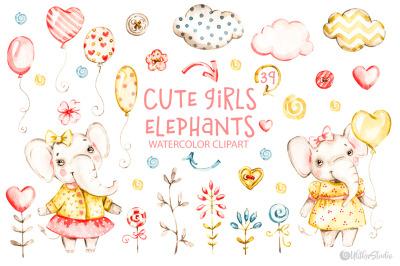 Cute baby girls elephants.  Nursery Watercolor clipart. Kids animals