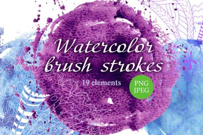 Watercolor brush strokes circular