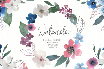 Watercolor Flowers Bouquets Wreath Red White Blue PNG