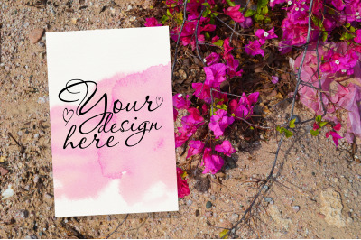 Wedding invitation card mockup with pink flowers
