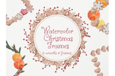 Watercolor Christmas Cookies frames and wreaths. Watercolor Illustrati
