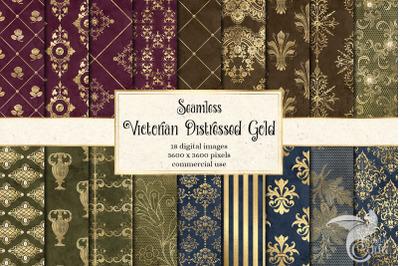 Victorian Distressed Gold Digital Paper