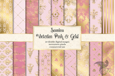 Victorian Pink and Gold Digital Paper