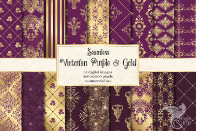 Victorian Purple and Gold Digital Paper