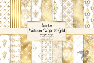 Victorian White and Gold Digital Paper