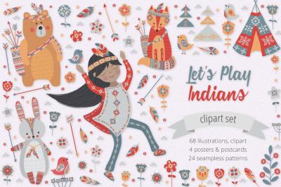 Lets Play Indians Illustration Set