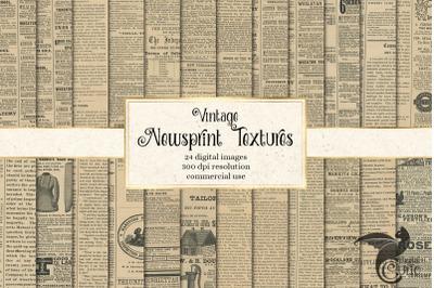 Vintage Newsprint Textures
