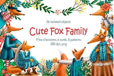 Cute Fox Family - Clip Art Set