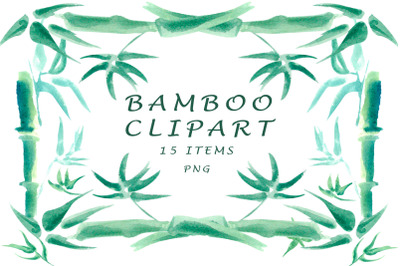 watercolor bamboo clipart
