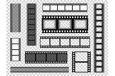 Film strip templates. Cinema monochrome border tape, media empty image