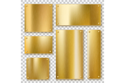 Golden plates. Gold metallic yellow plate, shiny bronze banner. Polish