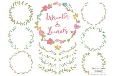 Garden Party Wreath & Laurels Vectors