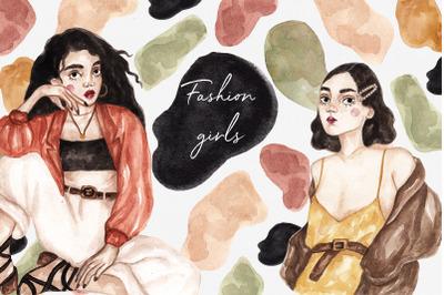 Watercolor Fashion Girls