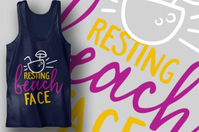 Resting Beach Face | Summer SVG Cut File