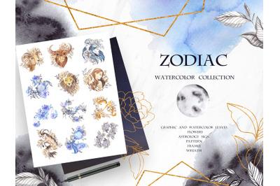 Zodiac. Watercolor element