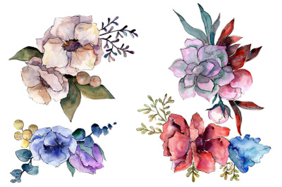 Bouquet Fire of passion watercolor png