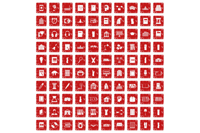 100 library icons set grunge red