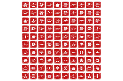 100 loans icons set grunge red