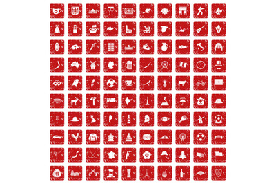 100 map icons set grunge red