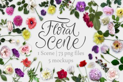 Floral Scene Creator + 5 Mock Ups.