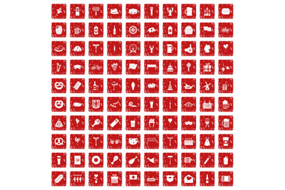 100 beer party icons set grunge red