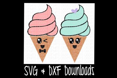 Kawaii Ice Cream * Fro-Yo Cutting File - SVG & DXF Files - Silhouette Cameo/Cricut