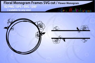 Floral Frames svg / Floral circle monogram frames