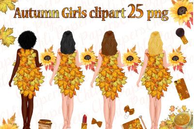 Autumn Girls Clipart, Planner girls,Thanksgiving clipart,