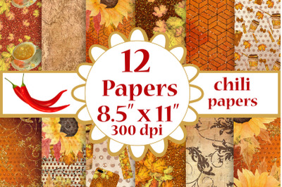 Fall digital papers, Sunflower papers,Autumn paper pack, A4