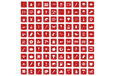 100 eco design icons set grunge red