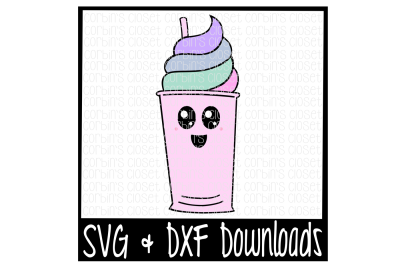 Kawaii Cup * Hand Drawn * Ice Cream * Float * Drink * Fro-Yo Cutting File - SVG & DXF Files - Silhouette Cameo/Cricut