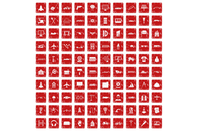 100 engineering icons set grunge red