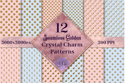 Seamless Golden Crystal Charm Patterns - 12 Images