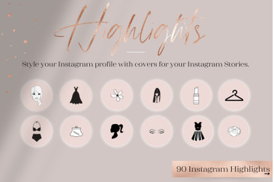 Feminine Highlights IG, Fashion + Flower Highlights IG