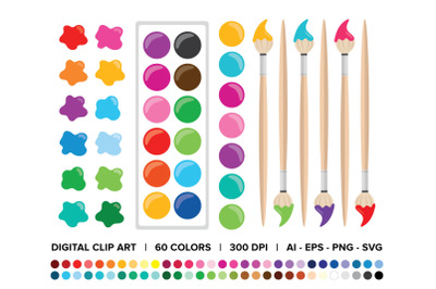 Paint Brush & Palette Clip Art Set