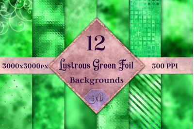 Lustrous Green Foil Backgrounds - 12 Image Textures Set