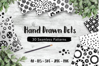 Hand Drawn Dots, 30 Seamless Patterns