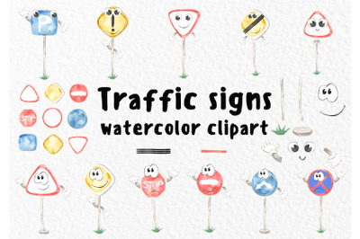 Cute traffic signs for kids watercolor clipart illustrations.