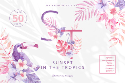 Sunset in the Tropics. Clipart set.