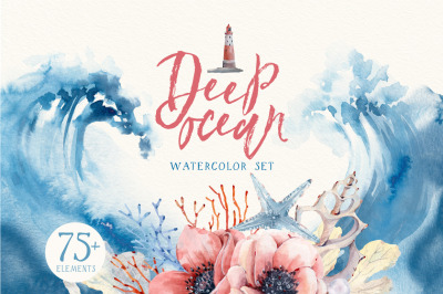 DEEP OCEAN Watercolor set