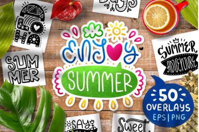 50 Summer Lettering Overlays