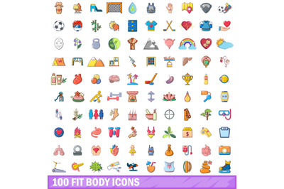 100 fit body icons set, cartoon style
