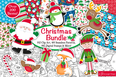 Christmas Bundle, Christmas clipart, Chrsitmas digital papers