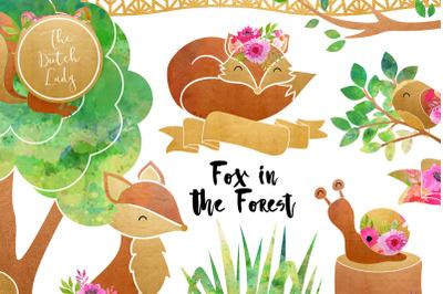 Fox & Forest Clipart Set