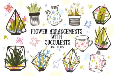 Flower arrangements with succulents set