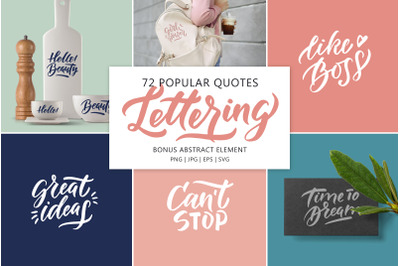 Popular quotes lettering set