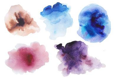 6 watercolor ombre splashes sale set