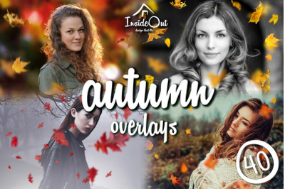 Autumn Falling Leaves: Overlays Leaf Branches. Fall Backdrops Clipart