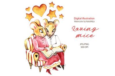 Watercolor loving mice. Symbol 2020