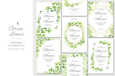 Green leaves wedding invitations set